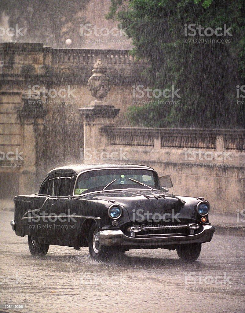 Taxi  in the rain, Havana royalty-free stock photo