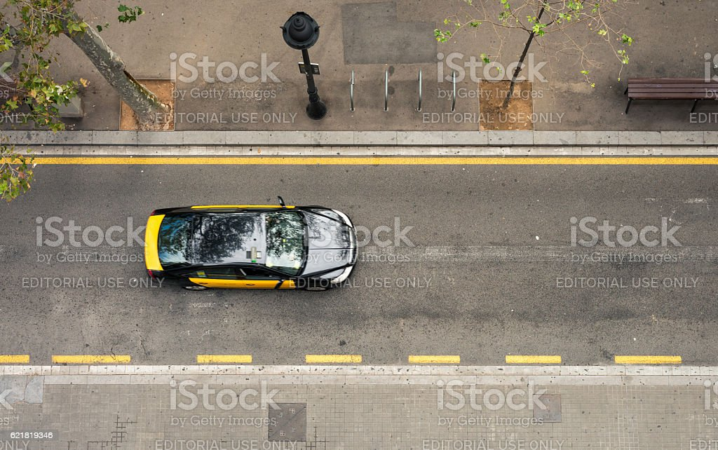 Taxi on the move stock photo