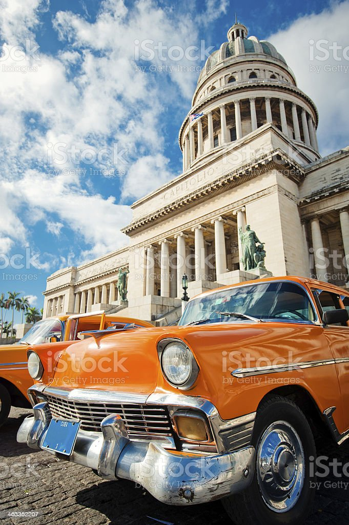 Taxi parked in the center of La Havana, Cuba stock photo