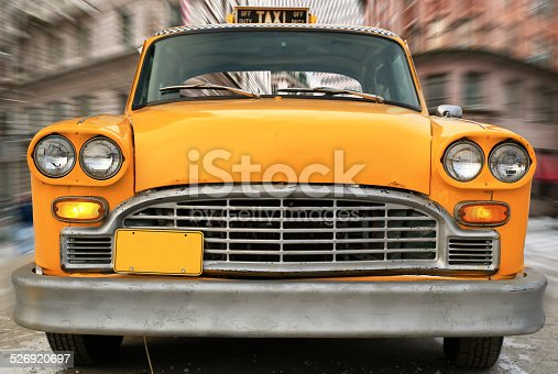 Yellow vintage taxi in new York, retro car