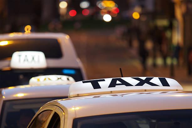 Taxi Rank at Night stock photo