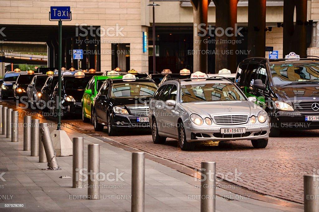 Taxi rank in Oslo stock photo