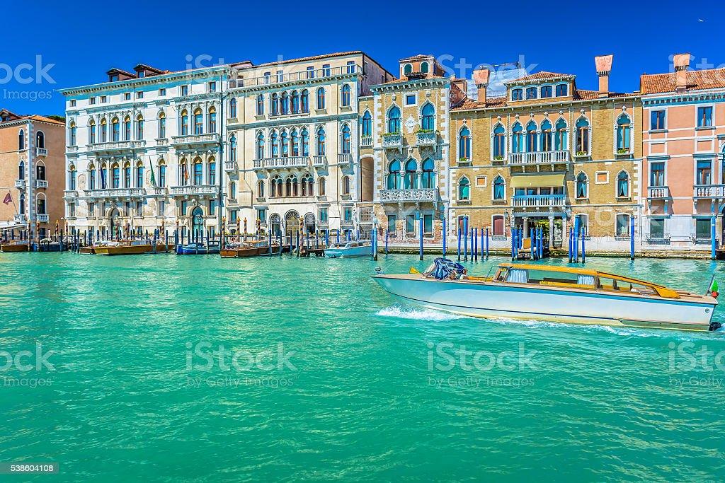 Taxi ride Venice Italy. stock photo