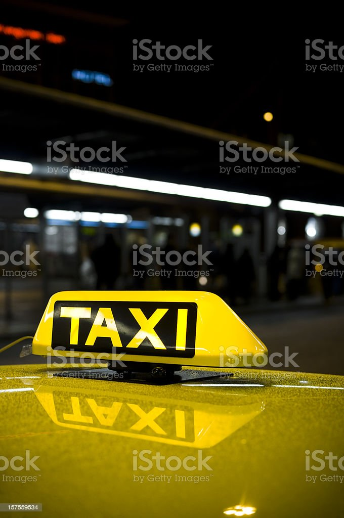 taxi sign at night royalty-free stock photo