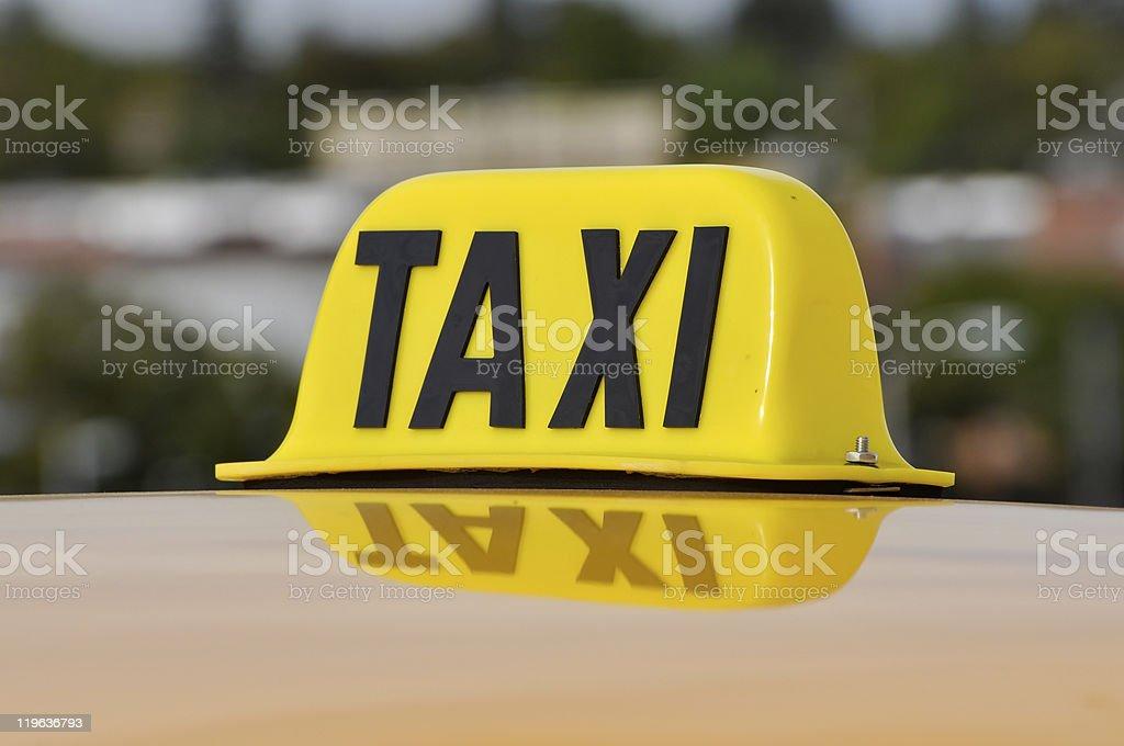 Taxi Sign Close Up stock photo