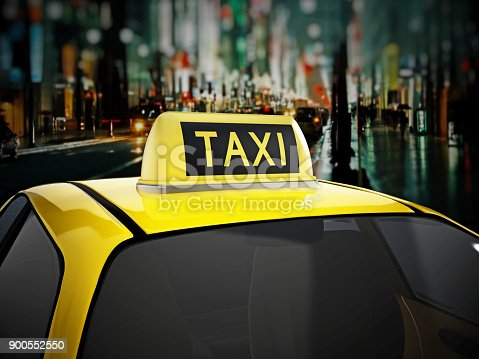 1087080996 istock photo Taxi sign on top of yellow car with city background 900552550