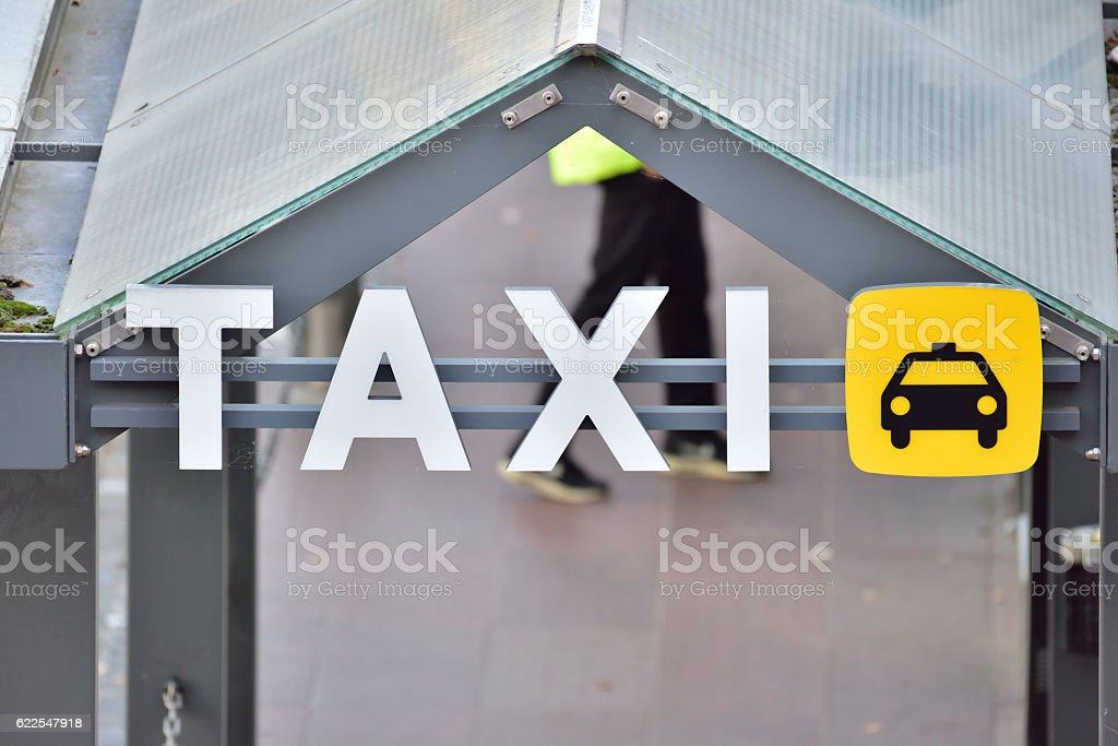 Taxi sign, the end of the queue stock photo