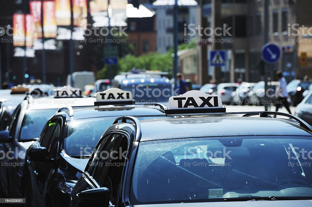 Taxi signs stock photo