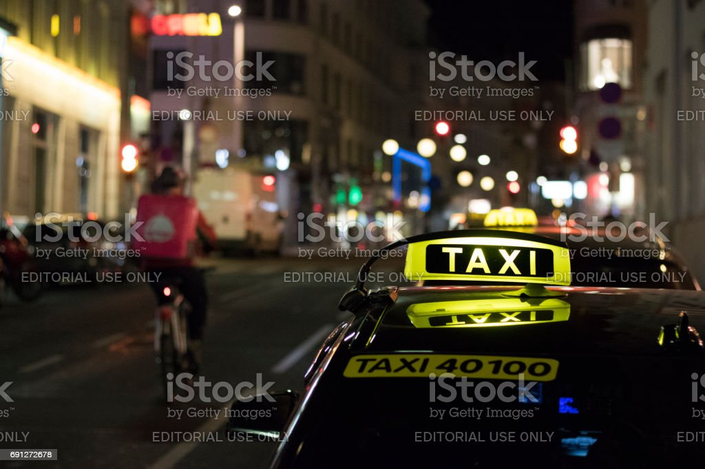 Taxi stand at night in Vienna stock photo