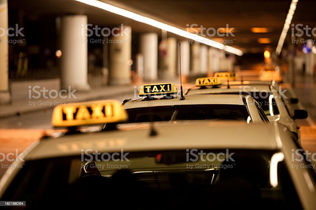 Taxi Stand at night royalty-free stock photo