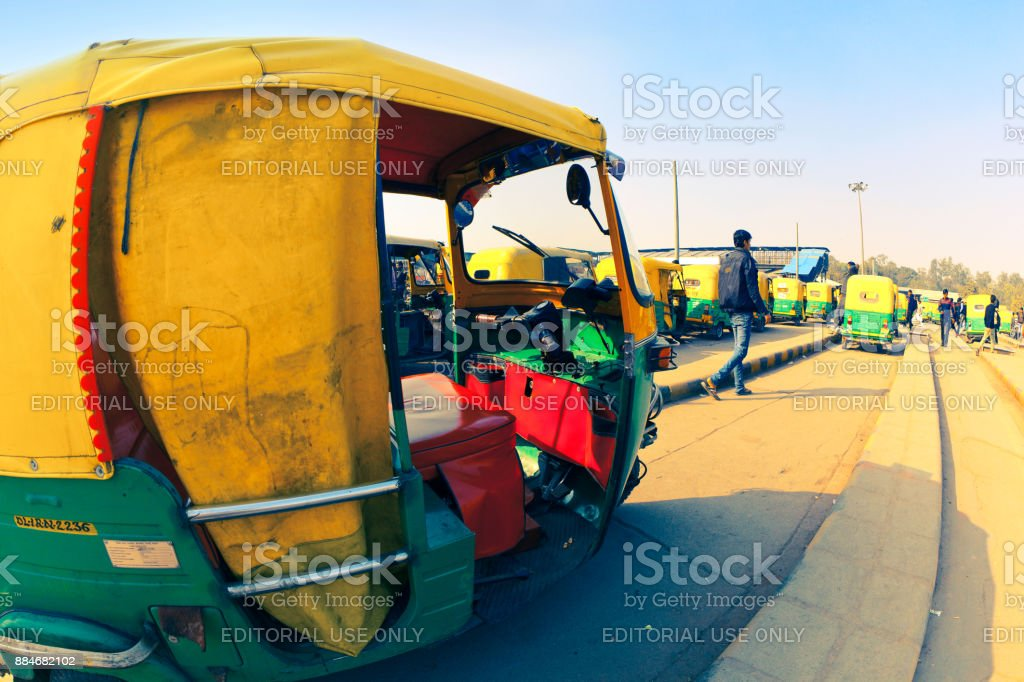 Taxi stand in Delhi stock photo