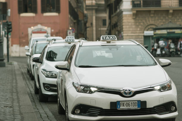 Taxi station near the Pantheon in the historical center of Rome, Italy stock photo