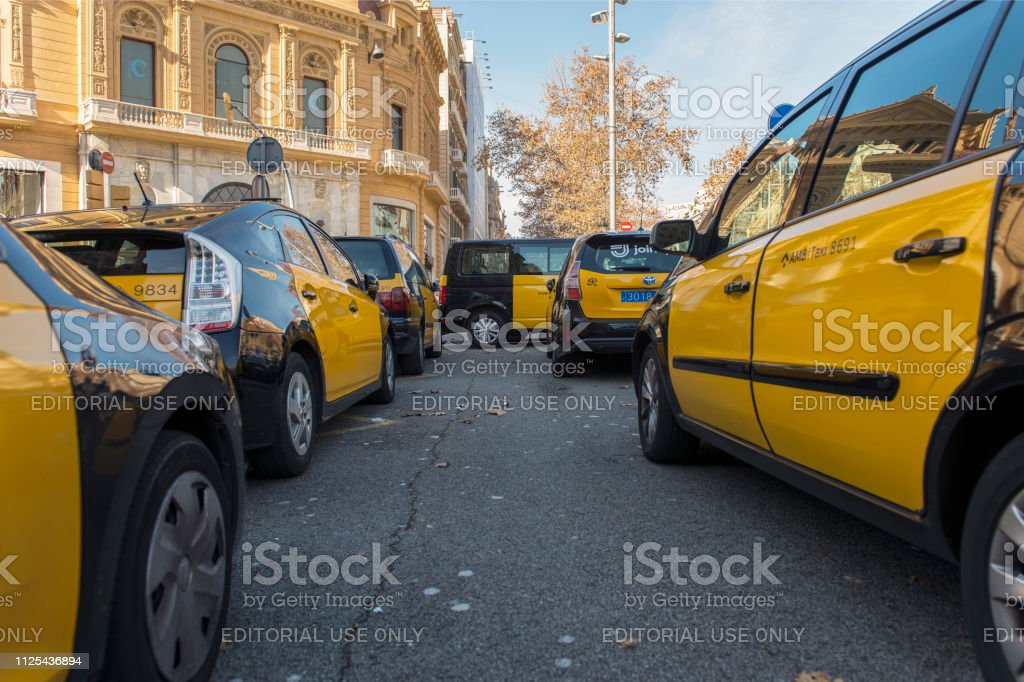 Taxi strike in Barcelona - fotografia de stock