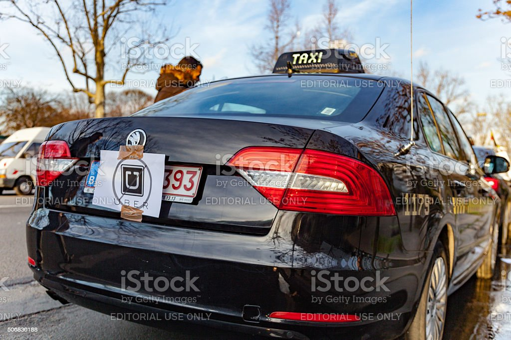 Taxi strike in Paris France stock photo