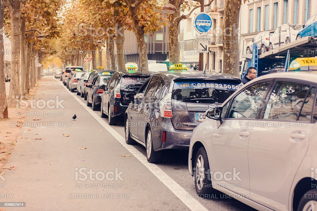 Taxi waiting in line for customers stock photo
