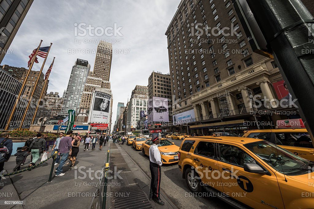 Taxies outside Madison Square Garden, Manhattan, New York City, USA stock photo