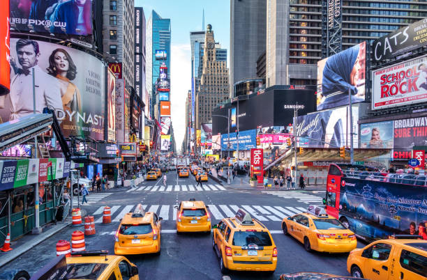 Taxis in Times square with 7th avenue, new york city, manhattan traffic jam in Times square with 7th avenue in the morning, new york city, manhattan new york state stock pictures, royalty-free photos & images