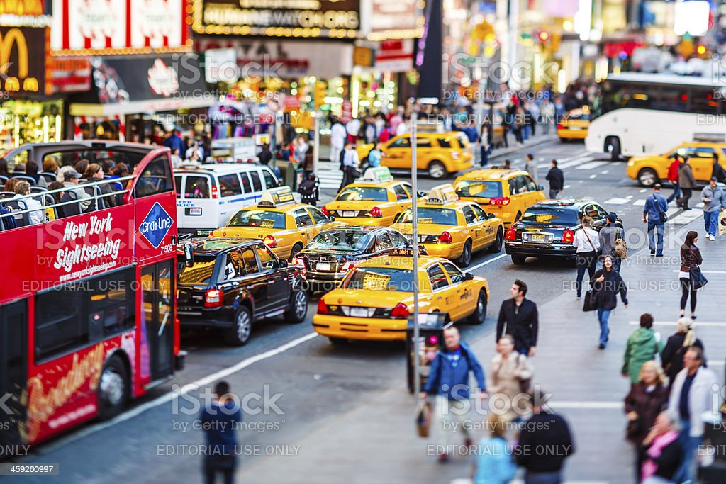 Taxis on 7th Avenue at Times Square, New York City royalty-free stock photo