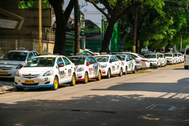 Taxi's parked due to prohibition on operation during quarantine.