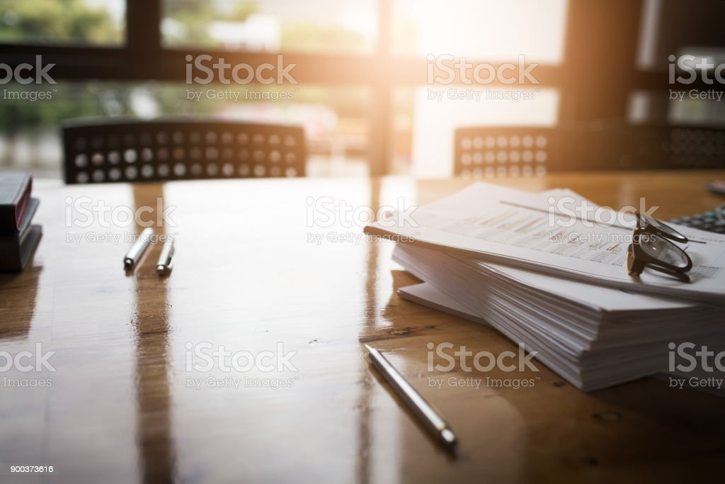 Taxpayer's desk and excise documents to import and export stock photo