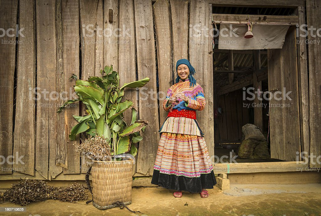 Tay minority woman in traditional dress royalty-free stock photo