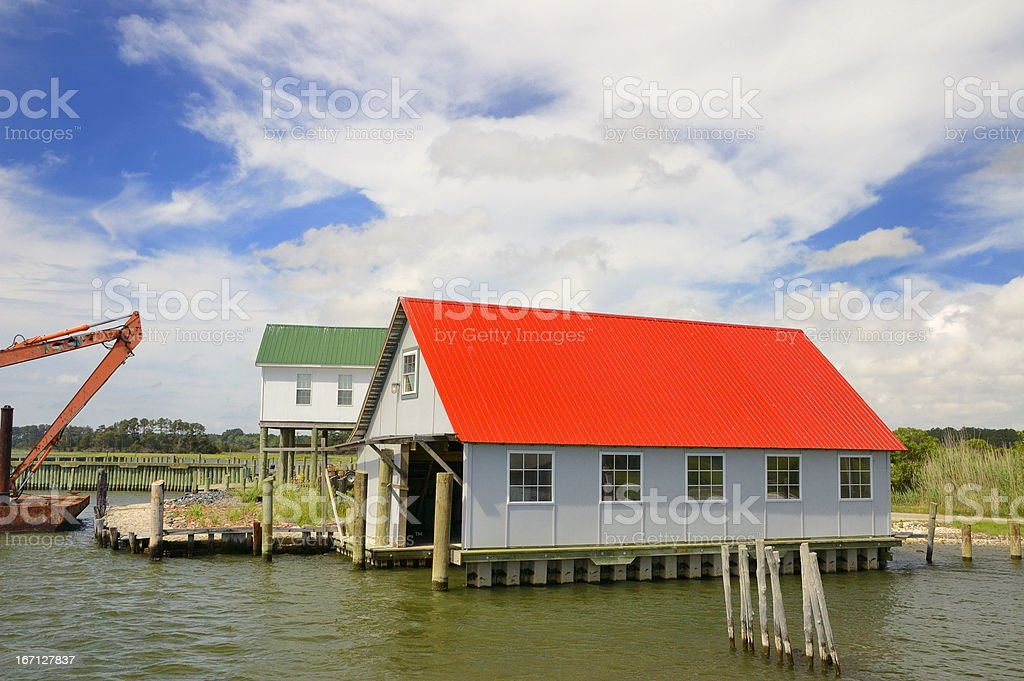 Taylors Landing Boat House With Excavator stock photo