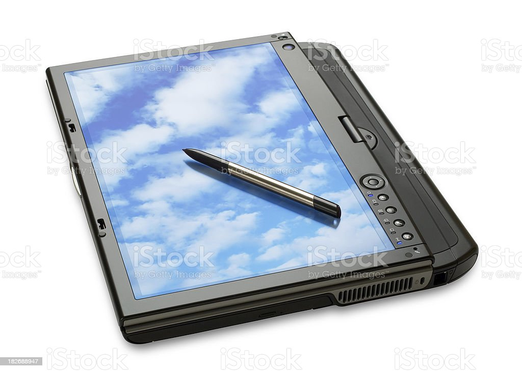 Tbalet PC Laptop w/ Clouds stock photo