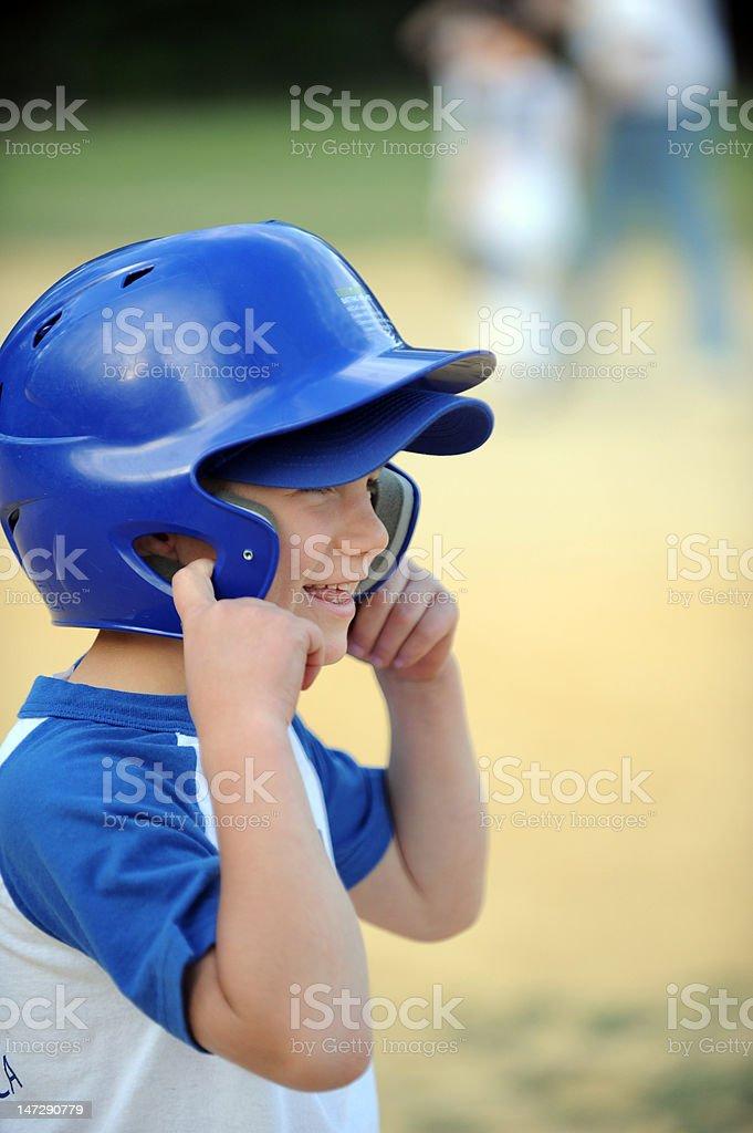Tball player ready to run stock photo