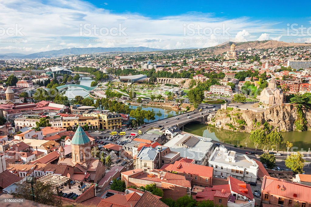 Tbilisi aerial view stock photo