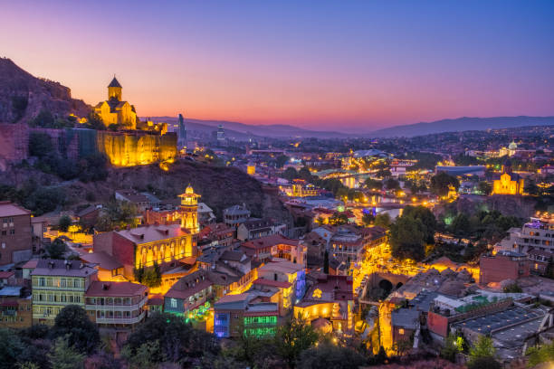 Tbilisi colorful skyline at sunset, Country of Georgia stock photo