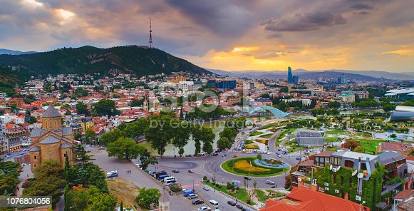 Tbilisi Georgia aerial sunset