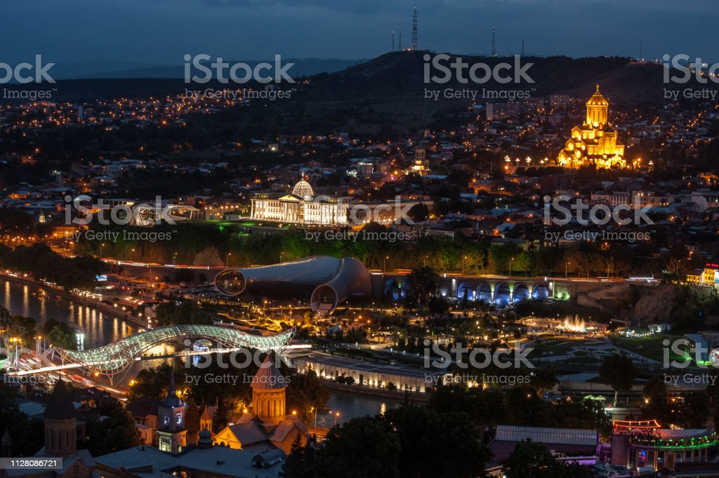 Tbilisi, Georgia at night stock photo