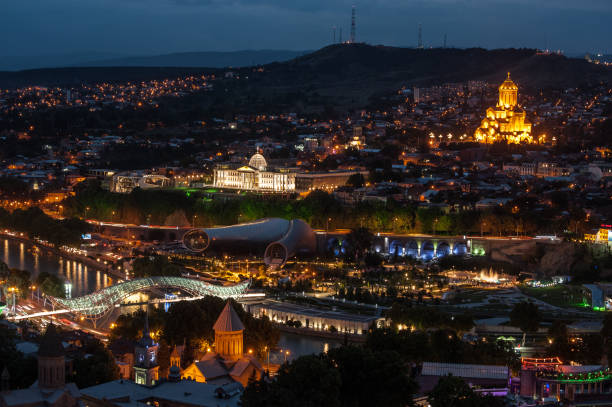 Tbilisi, Georgia at night stock photo