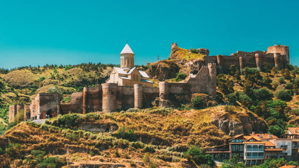 Tbilisi, Georgia. Scenic View Of Impregnable Fortress Narikala Fortress And Church Of St. Nicholas stock photo