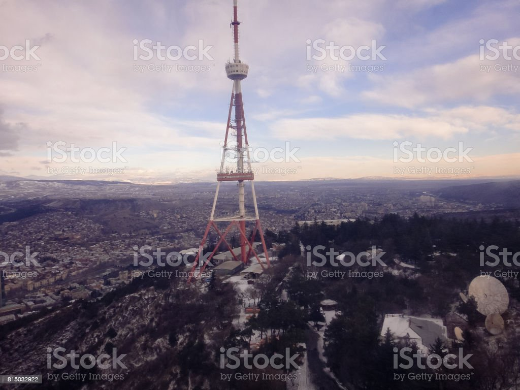 Tbilisi - the capital and the largest city of Georgia. View from the top of Mtatsminda mountain stock photo