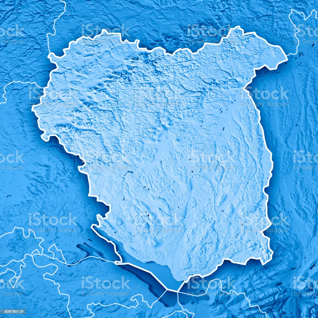 tbingen administrative region baden wrttemberg 3d render topographic map blue border royalty free stock