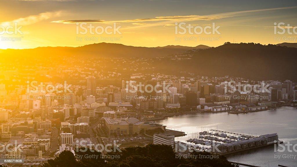 Te Aro and Wellington Harbor in Golden Sunlight stock photo