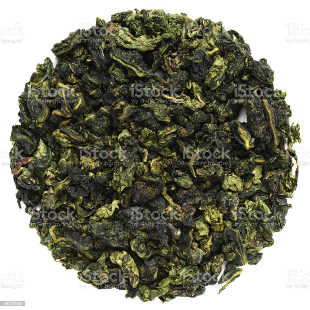 Te Guanin Oolong tea round shape isolated on white stock photo