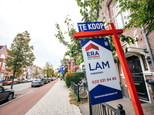 Te Koop to sale sign near real estate property in netherlands