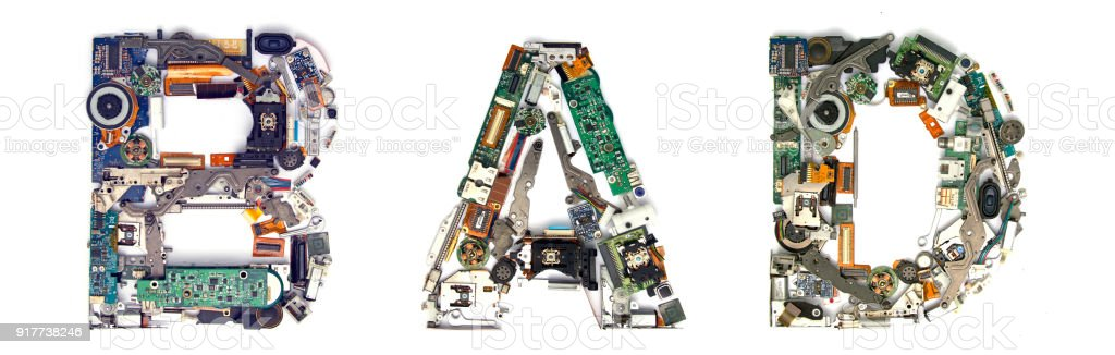 te word BAD  made from electronic parts stock photo
