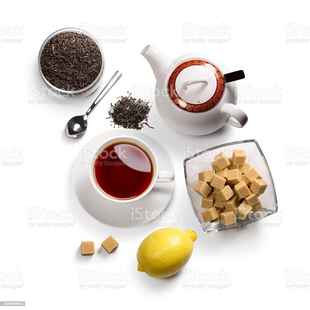 tea accessories on a white background stock photo