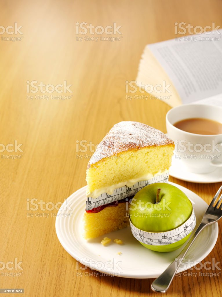 Tea and Cake on the Table with a Tape Measure stock photo