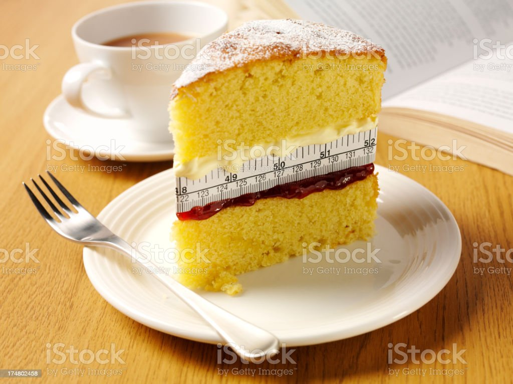 Tea and Cake with a Tape Measure Filling stock photo