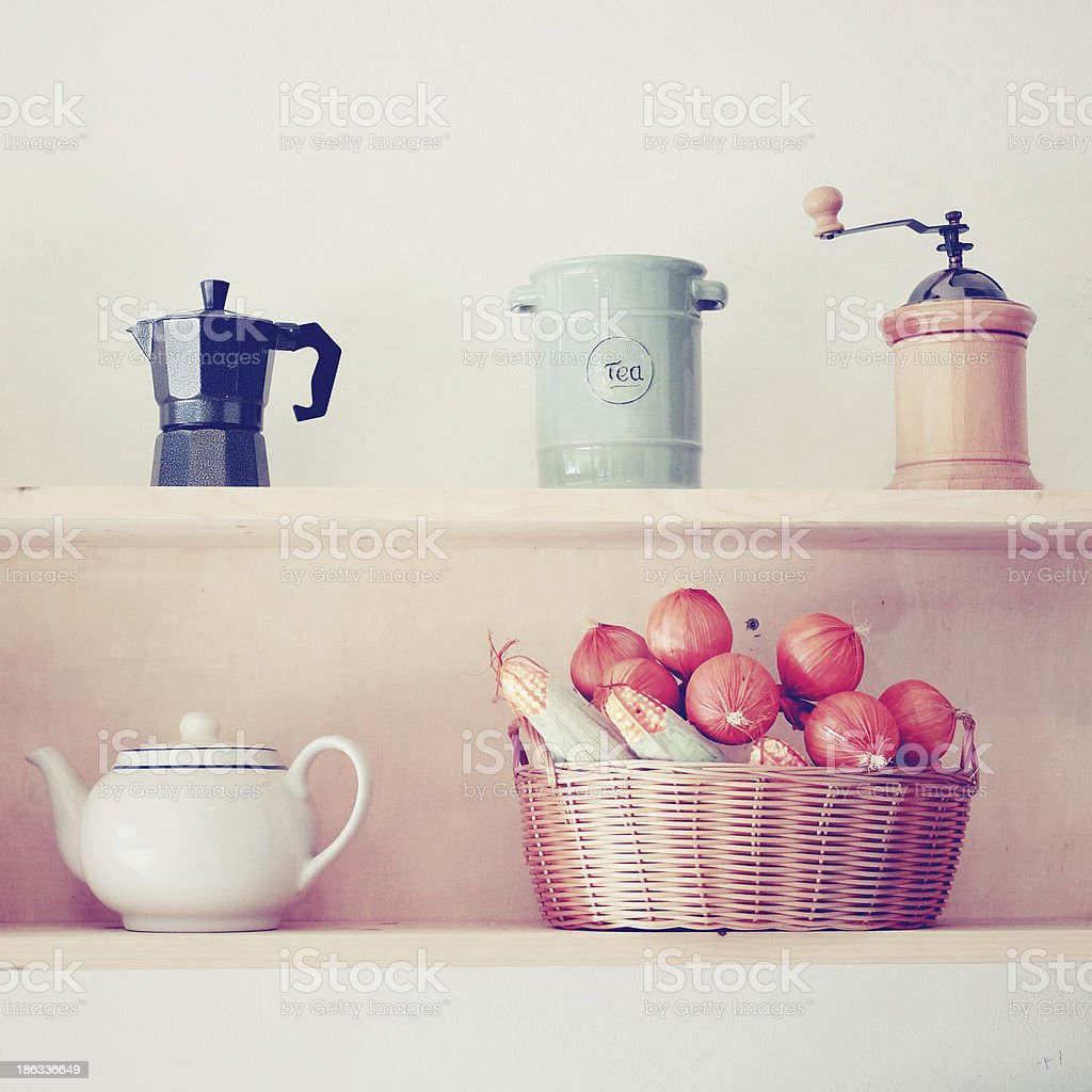 Tea and coffee equipment in kitchen with retro filter effect royalty-free stock photo