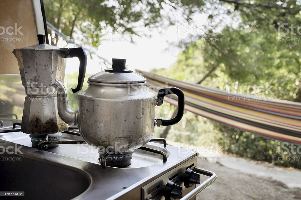 Tea and coffee pot on campside royalty-free stock photo