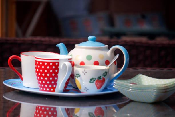 Tea and cream cakes stock photo