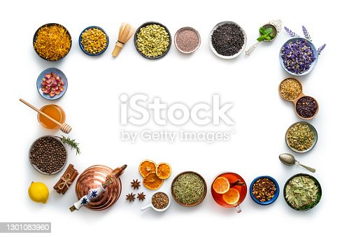 Tea and herbal infusion with dried herbs isolated on white background with calendula, rose petals, mint leaves, cinnamon sticks, matcha tea, dried orange, with mint tea, ginger, lemon, black tea, hibiscus, chamomile, bancha, green tea, mallow, cardamom, anise, chai tea, Jamaican Allspice, and teapot in border frame