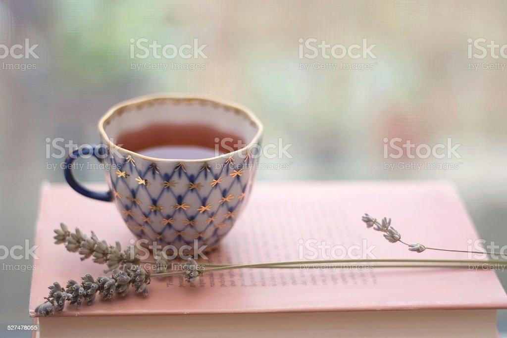 Tea and lavender stock photo