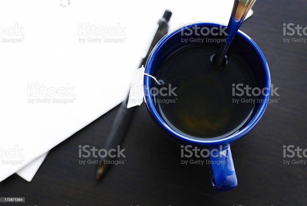 tea and pen with letter royalty-free stock photo
