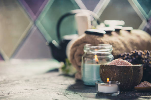 tea and spa composition - spa belgium stock photos and pictures